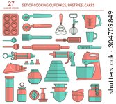 set of baking ingredients for... | Shutterstock .eps vector #304709849