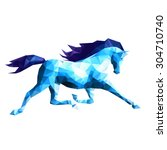abstract blue horse on white... | Shutterstock .eps vector #304710740