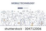 people share digital... | Shutterstock .eps vector #304712006