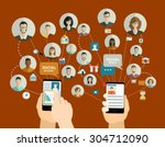 global social network abstract... | Shutterstock .eps vector #304712090