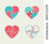 four puzzle icons in the shape... | Shutterstock .eps vector #304712159