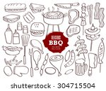 set of hand drawn bbq doodles | Shutterstock .eps vector #304715504
