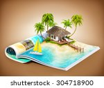 tropical island with bungalow... | Shutterstock . vector #304718900
