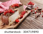 delicious cheesecake with... | Shutterstock . vector #304719890