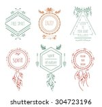 boho tribal hipster labels set. ... | Shutterstock .eps vector #304723196