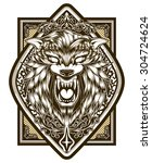 wolf poster illustration vector ... | Shutterstock .eps vector #304724624