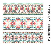embroidered handmade stitch... | Shutterstock .eps vector #304726676