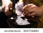 grain leather. shoemaker... | Shutterstock . vector #304726883