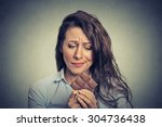 portrait sad young woman tired... | Shutterstock . vector #304736438