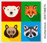 set of animals with flat design.... | Shutterstock .eps vector #304738874