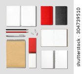 stationery books and notebooks... | Shutterstock . vector #304739510