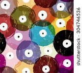 seamless vinyl records... | Shutterstock .eps vector #304746536