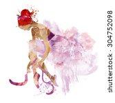 watercolor ballerina in a pink... | Shutterstock .eps vector #304752098