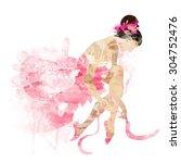 watercolor ballerina in a pink... | Shutterstock .eps vector #304752476