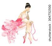 watercolor ballerina in a pink...   Shutterstock .eps vector #304752500
