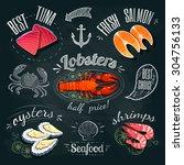 chalkboard seafood ads   tuna ... | Shutterstock .eps vector #304756133
