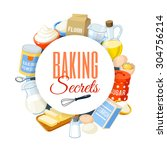 baking label with flour  eggs ... | Shutterstock .eps vector #304756214