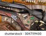 hunting equipment on old wooden ... | Shutterstock . vector #304759430
