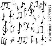 music notes and signs set. hand ... | Shutterstock .eps vector #304775933