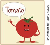 cartoon smiling tomato with... | Shutterstock .eps vector #304776608