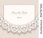 elegant save the date card with ... | Shutterstock .eps vector #304787360
