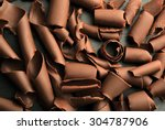 chocolate curls close up | Shutterstock . vector #304787906