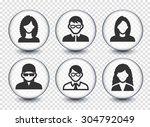 people face set on transparent... | Shutterstock .eps vector #304792049