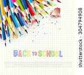 colorful pencils on white paper ... | Shutterstock .eps vector #304794908