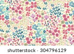 seamless cute flower vector... | Shutterstock .eps vector #304796129
