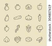 vegetables icon set | Shutterstock .eps vector #304807619