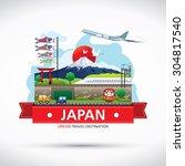 japan icons design travel... | Shutterstock .eps vector #304817540