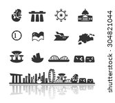 singapore icons set vector | Shutterstock .eps vector #304821044