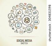 social media hand drawing hatch ... | Shutterstock .eps vector #304831598