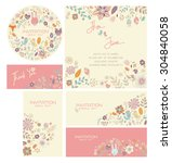wedding card invitation suite... | Shutterstock .eps vector #304840058