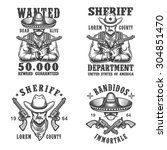 set of sheriff and bandit... | Shutterstock .eps vector #304851470