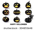 set of pumpkins for halloween | Shutterstock .eps vector #304853648