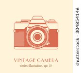 vintage slr camera  vector... | Shutterstock .eps vector #304854146
