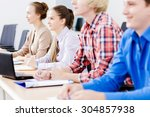 young people sitting in... | Shutterstock . vector #304857938