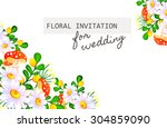 invitation with floral... | Shutterstock .eps vector #304859090