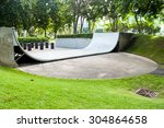 Empty Halfpipe At Public Park