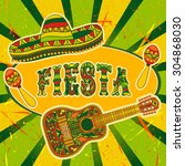mexican fiesta party invitation ... | Shutterstock .eps vector #304868030