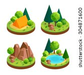 set of isometric icons  outdoor ... | Shutterstock .eps vector #304871600