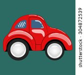 flat. simple cartoon red car... | Shutterstock .eps vector #304872539