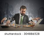 stressed businessman working... | Shutterstock . vector #304886528