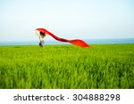 young lady runing with tissue... | Shutterstock . vector #304888298