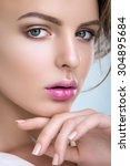 portrait of a cute woman on a... | Shutterstock . vector #304895684