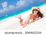 beautiful woman with sun hat...   Shutterstock . vector #304902254