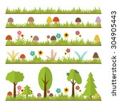 set of flat forest design... | Shutterstock .eps vector #304905443