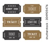 paper tickets with numbers. set ... | Shutterstock .eps vector #304905476