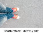 young man feet in red sneakers... | Shutterstock . vector #304919489